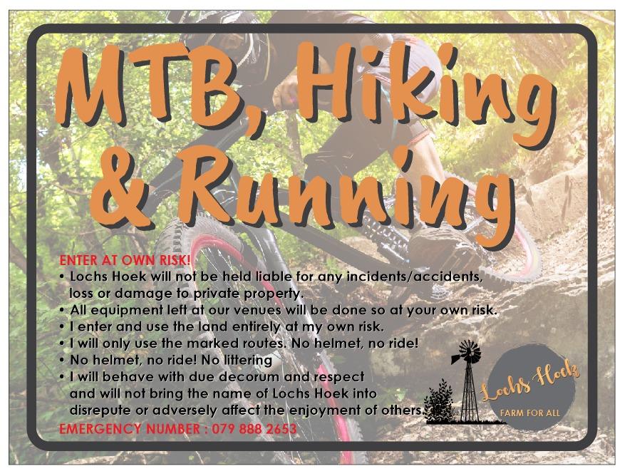 mountain biking, running and hiking